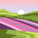 Blumen-Weidelandschaft Japans Hokkaido voll lizenzfreie abbildung