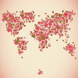 Blumen-Weltkarte Eco-Zusammenfassungshintergrund Stockfoto