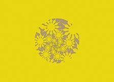 Blumen winden sich gelbes Flachrelief Lizenzfreies Stockfoto