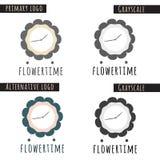 Blumen-Zeit-Logo Lizenzfreies Stockbild