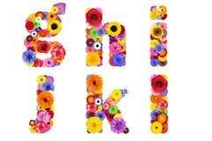 Blumenalphabet lokalisiert auf weiß- Buchstaben G, H, I, J, K, L Lizenzfreie Stockbilder