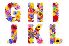 Blumenalphabet lokalisiert auf weiß- Buchstaben G, H, I, J, K, L Stockfotos