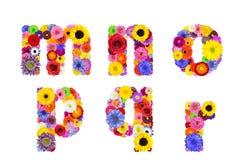 Blumenalphabet lokalisiert auf weiß- Buchstaben M, N, O, P, Q, R Lizenzfreie Stockfotografie