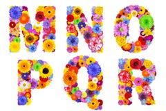 Blumenalphabet lokalisiert auf weiß- Buchstaben M, N, O, P, Q, R Stockbild