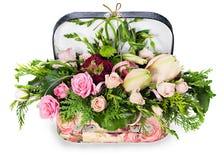 Blumenanordnung für Rosen und Lilien Lizenzfreies Stockbild