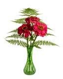 Blumenanordnung mit Farnen und Zinnias lizenzfreie stockbilder
