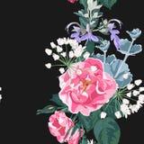 Blumenaquarellart des nahtlosen Mustervektors: wilder rosafarbener Rosa-canina Hunderosengarten blüht und saftig, Kräuter lizenzfreie abbildung