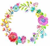 Blumenaquarellkranz für schönes Design Lizenzfreie Stockfotos