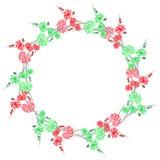 Blumenaquarellkranz mit den grünen und roten Blumen auf einem weißen Hintergrund Stockbild