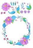 Blumenaquarellkranz und -blumen stellen ein, übergeben gezogenes Lizenzfreie Stockbilder