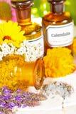 Blumenaromatherapie, ätherisches Öl und Pflanzenauszüge stockfotos