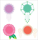 Blumenaufkleberpastell Vektor Abbildung