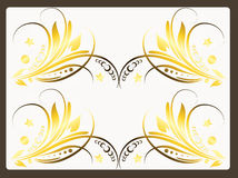 Blumenauslegung in der goldenen Farbe Stockbild