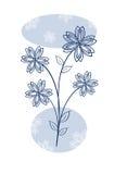 Blumenauslegung im Blau Lizenzfreies Stockbild