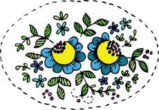 Blumenauslegungmuster mit Blättern und blauen Blumen Stockfotografie
