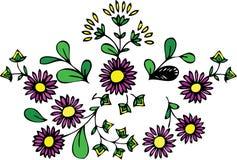 Blumenauslegungmuster - purpurrote Blumen und Blätter Stockfoto
