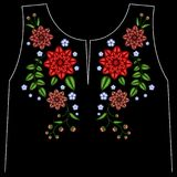 Blumenausschnittsblumen-Designgraphiken der Stickerei arbeiten ethnische das Tragen um lizenzfreie stockbilder