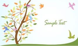 Blumenbaum und Vögel, Hintergrund, Tapete Lizenzfreies Stockfoto
