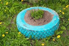 Blumenbeet von einem Reifen stockbild