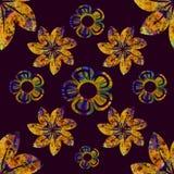 Blumenbild im Gold und im Blau, in einem flachen schwarzen Hintergrund, Weinlesebild, nahtloses Muster lizenzfreie abbildung