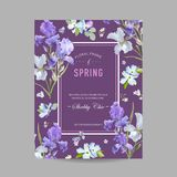 Blumenblüten-Frühlings-Rahmen mit purpurroter Iris Flowers Einladung, Plakat, Gruß-Karten-Flieger-Schablone Lizenzfreie Stockfotos