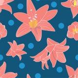 Blumenblume des nahtlosen Musters des Vektors moderne Tapete der Amaryllis zeitgenössische modische Arty lizenzfreie abbildung