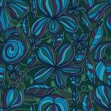 Blumenblumenblatt-Zeichnungslinie Farbnahtloses Muster Stockbild