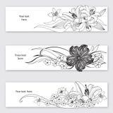 Blumenblumenstrauß-Titelsatz. Blumendekorsammlung Lizenzfreies Stockfoto