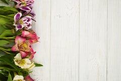 Blumendekor auf hölzernem Hintergrund Stockfoto