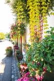 Blumendekoration außerhalb eines Hauses Stockbild