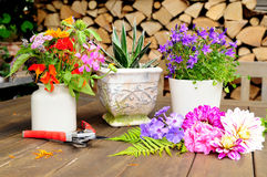 Blumendekoration auf Terrasse Lizenzfreie Stockfotografie