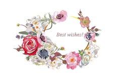 Blumendekorationen mit Pfingstrosen, Rosen und Dahlien Stockfoto