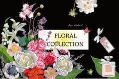 Blumendekorationen mit Pfingstrosen, Rosen und Dahlien Stockbilder