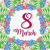 Blumendesign mit fucsia am 8. März stock abbildung