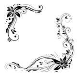 Blumeneckdesign Schwarze Blumen der Verzierung auf weißem Hintergrund Stockfotografie