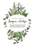 Blumeneinladung heiratend, laden Sie Karte ein Verzweigt sich gesetzter grüner Farn des Vektoraquarells Wald, Kräuter, Eukalyptus vektor abbildung
