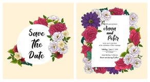 Blumeneinladungskarte heiratend, speichern Sie den Datumsentwurf mit Rosa, rote Blumen - Rosen und gr?ner Blattkranz und -rahmen  vektor abbildung