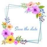 Blumeneinladungskarte, sparen das Datum stock abbildung