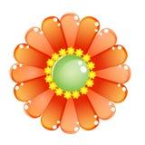 Blumenfarborange glatte Geleeikone Stockfotografie
