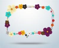 Blumenfeld, Blumeneleganzrahmen und Feiertagssymbole Vektor Stockfoto