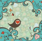 Blumenfeld mit Vogel Lizenzfreies Stockbild