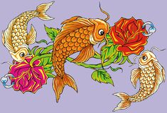 Blumenfischtätowierung Stockbilder