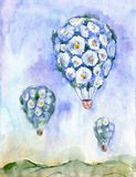 Blumenfliege watercolor Illustration mit Ballonen von Gänseblümchen auf Hintergrund des blauen Himmels stock abbildung