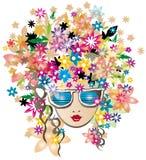 Blumenfrühlingsmädchen mit Glasvektorillustratio Lizenzfreie Stockfotografie