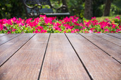 Blumengarten und Holzbrücke Stockbild