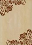 Blumengekritzel auf braunem Papier Lizenzfreie Stockfotos