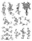 Blumengekritzel, Hand gezeichnet, Weinlese Stockbilder