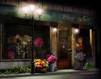 Blumengeschäft nachts Lizenzfreie Stockbilder