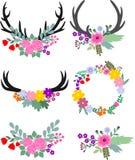 Blumengeweihe und Rotwild-Hauptelemente Lizenzfreie Stockfotografie