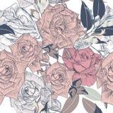 Blumengezeichnete Rosen des vektormusters Hand für Design Stockfotos